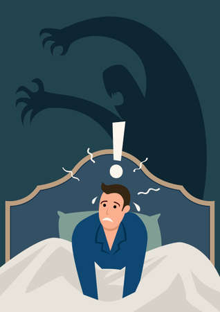 Simple flat vector illustration of a man wake up in the middle of the night, stressed and scared from nightmare. Anxiety, panic attack, sleeping disorder concept Illustration
