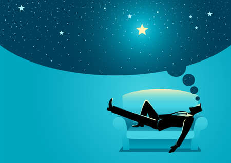 Vector illustration of a businessman daydreaming while sleeping on sofa