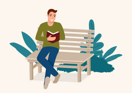 Simple flat vector illustration of a man sitting on wooden bench while concentrated reading a book Illustration