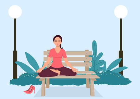 Simple flat vector illustration of woman doing yoga on a bench at the park Illustration