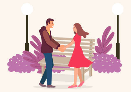 Simple flat vector illustration of couple holding hands in the park