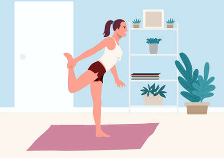 Simple flat vector illustration of a woman doing stretching exercise at home