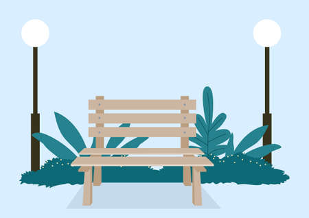 Simple flat vector illustration of a wooden bench in the park