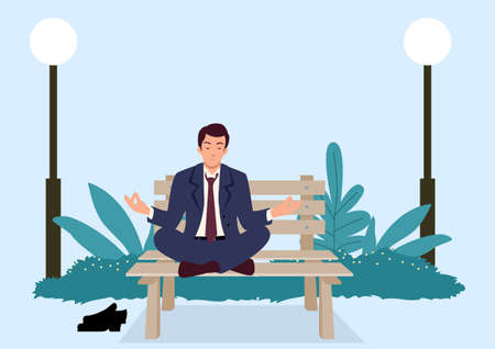 Simple flat vector illustration of businessman doing yoga on a bench at the park