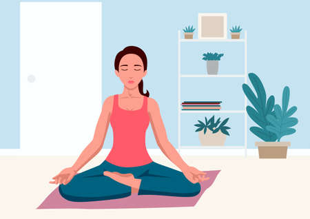 Simple flat vector illustration of woman doing yoga at home Illustration