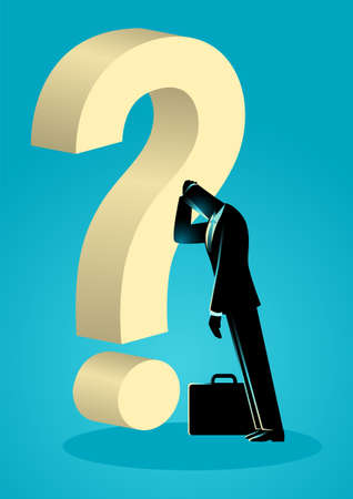 Businessman leaning his forehead against giant question mark, business failure, stupid mistake, regret concept Illustration