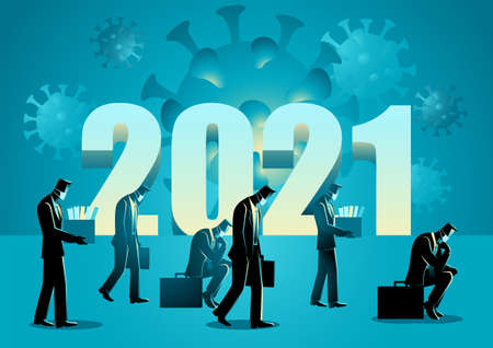 Vector illustration of the year 2021 symbol with business people lost their job due to coronavirus Covid-19 Illustration