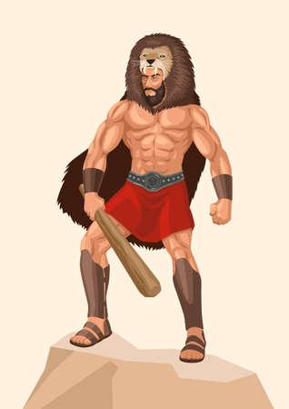 Simple flat vector illustration of Heracles or Hercules a divine hero in Greek mythology