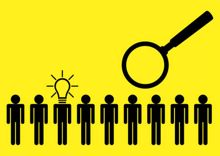 Simple flat vector illustration of human figure with light bulb head among other individuals, standout, leadership and excellence concept Vector Illustration