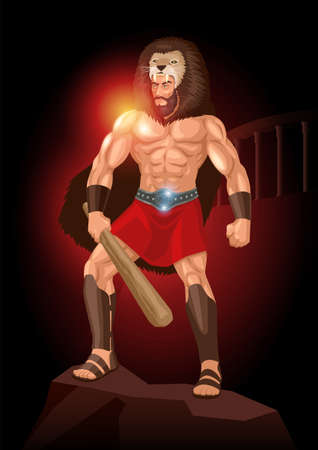 Vector illustration of Heracles or Hercules a divine hero in Greek mythology