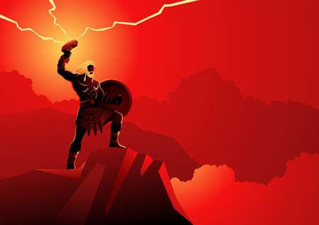 Norse god and goddess vector illustration series,   the god of thunder and lightning Illustration