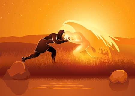 Biblical vector illustration series, Jacob wrestling with God or the angel Illustration