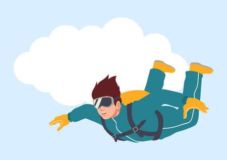 Simple flat vector illustration of a man sky diving Illustration