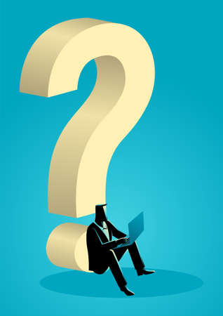 Business concept vector illustration of businessman using his laptop while sitting under giant question mark