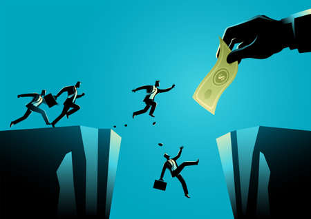 Business concept illustration of businessmen trying to reach the money hold by giant hand separated by a ravine