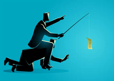 Business vector illustration of a businessman riding on back of another businessman or employee by giving money as a bait, modern slavery in the business world