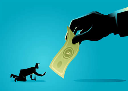 Vector illustration of businessman crawling and reaching out for a giant hand holding money