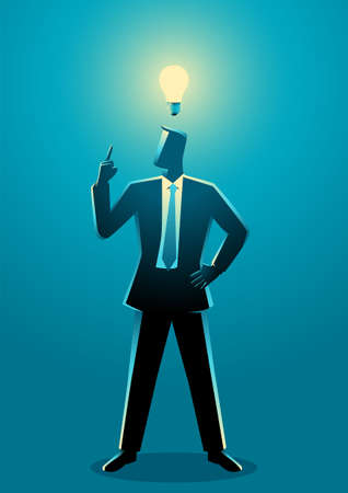 Business concept vector illustration of businessman with light bulb, innovation and inspiration concept