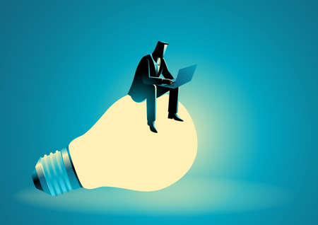 Vector illustration of businessman sitting on giant light bulb while working on lap top computer Illustration