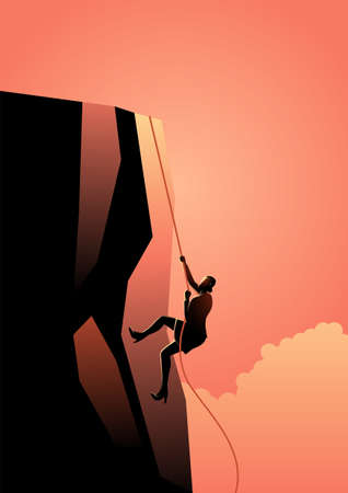 Business concept vector illustration of business woman climbing to the top, business concept illustration  イラスト・ベクター素材