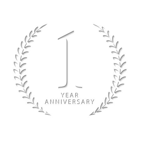 Paper cut design of 1 year anniversary, to represents the name of 1 year anniversary which is paper, vector template