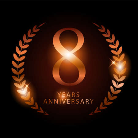 Shiny bronze ornament of 8 years anniversary, to represents the name of 8 years anniversary which is bronze, vector template