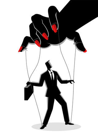 Vector illustration of a businessman being control by a woman puppeteer