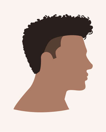 Simple flat vector illustration of side view of afro male face