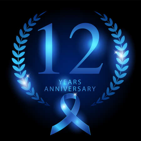 Luxury design ornament with blue ribbon shiny silk to represents 12 years anniversary, vector template