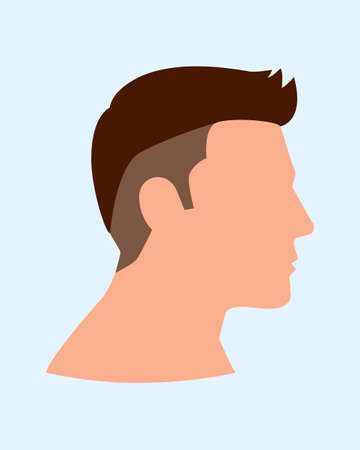 Simple flat vector illustration of side view of man face Illustration
