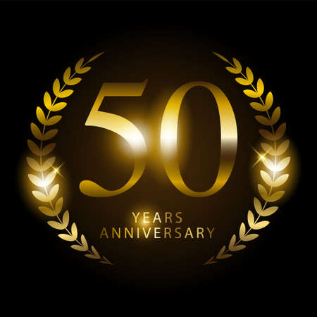 Shiny golden ornament to represents the name of 50 years anniversary, vector template