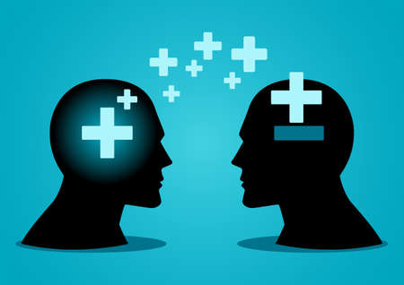 Vector illustration of human head transferring or spreading positive energy to another human head Illustration