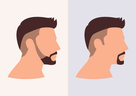 Simple flat vector illustration of side view of man face with beard and mustache