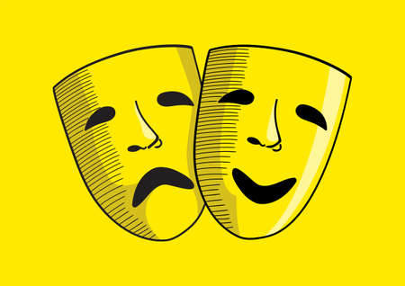 Line art vector illustration of a sad and happy face mask, drama and comedy symbol