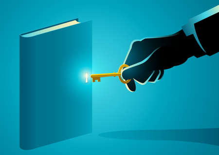 Vector illustration of a hand with golden key opening a book