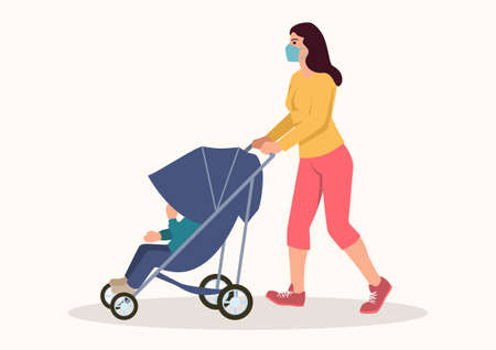 Simple flat vector illustration of a mother wearing medical mask pushing her child in the stroller
