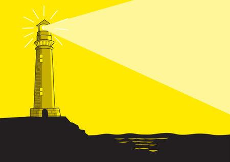 Line art vector illustration of a lighthouse Illustration