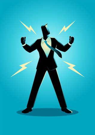 Vector illustration of energized businessman, confidence, optimism concept