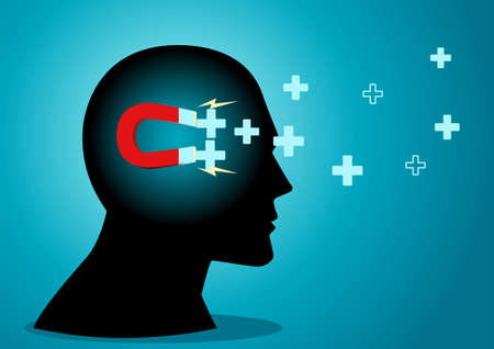 Vector illustration of human head with magnet inside attracting positive symbols. Positive mind concept Illustration