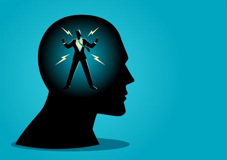 Vector illustration of energized buisnessman in human head, powerful mind concept Ilustração Vetorial