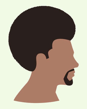 Simple flat vector illustration of side view of black man face with afro hair