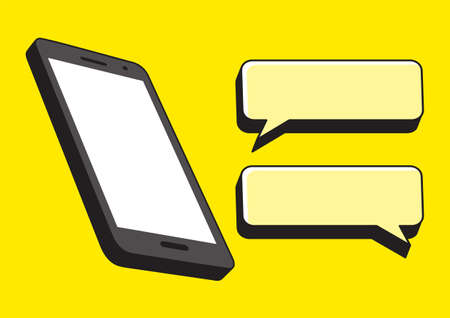 Simple flat vector illustration of cellular phone and bubble text