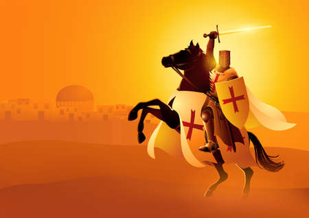 Vector illustration of Templar Knight holding a sword and shield on a horse Illustration