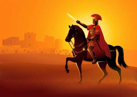 Vector illustration of Gaius Julius Caesar on horseback get ready to conquer a city Illustration