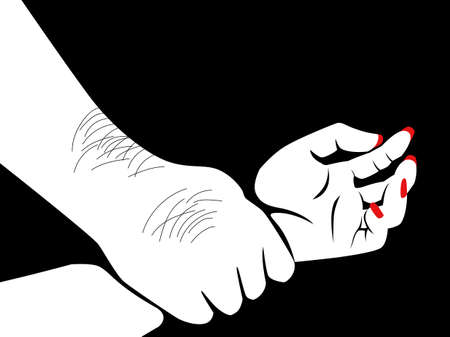 Line art illustration of a hairy man's hand holding a woman hand, having sex, rape concept
