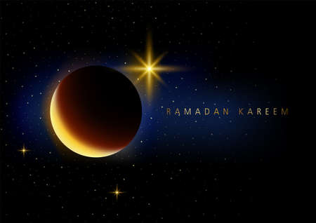 Beautiful night space with crescent moon and stars for Ramadan theme