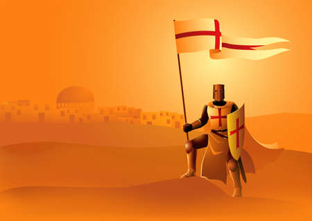 Vector illustration of Templar Knight holding a flag and shield