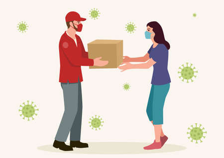 Simple flat vector illustration of a man delivering a package to a woman, both of them wearing medical mask