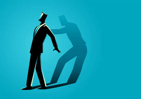 Vector illustration of a businessman being pushed by his own shadow, self motivation concept
