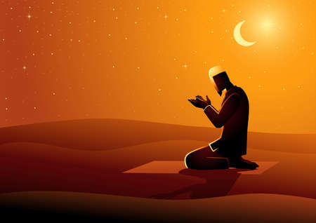 Vector illustration of muslim man praying in the desert, Ramadan, Islamic theme and background Ilustración de vector